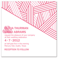 Pink White Contemporary Blank Wedding Invitation