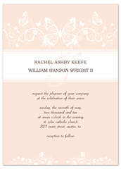 Butterflies Cream White Microsoft Wedding Invite