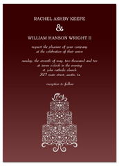 Champagne Red Cake Design Wedding Invitation Example